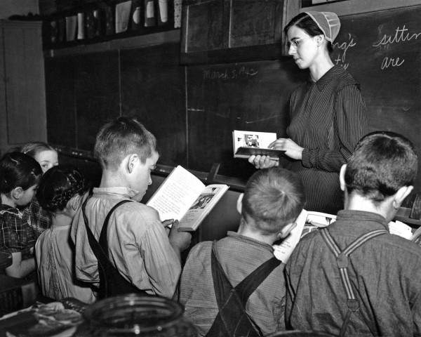 John Collier - Mennonite teacher holding class in one-room, eight grade school house. Near Hinkletown, Pennsylvania, 1942