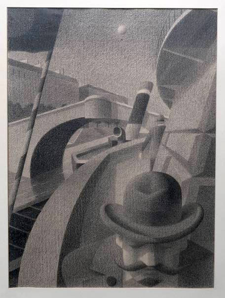 """""""Mann mit Trauerknopf"""", eine ORiginal-Bleistiftzeichnung von Harry Buser."""